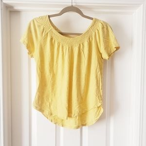 LOFT Yellow Short Sleeve Blouse